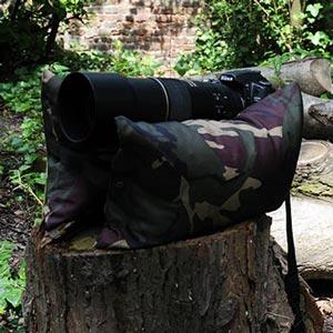 camera bean bag horizontal on log